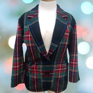 Pendleton Tartan Christmas Plaid Blazer 8